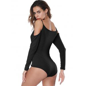 Ribbed Long Sleeve Spaghetti Strap Bodysuit -