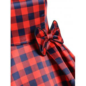 Square Neck Plaid Bowknot Vintage Dress -