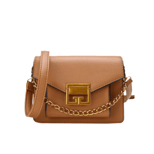 Faux Leather Metal Chain Crossbody Bag -