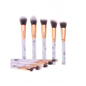 Marble Printed Handle 10Pcs Makeup Brushes Set -