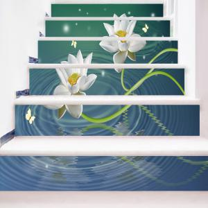 Lotus Butterflies Water Patterned Stair Stickers -