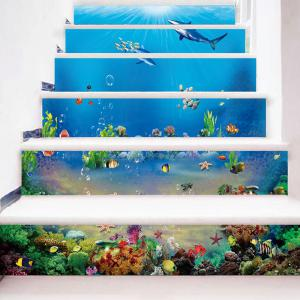 Sea World Dolphins Patterned Stair Stickers -
