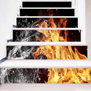 Fire and Water Printed Decorative Stair Stickers -