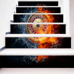 Water Fire Roulette Pattern Novelty Stair Stickers -