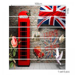 England Style Telephone Booth Pattern Stair Riser Stickers -