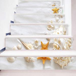 Beach Style Shell Conch Starfish Print Stair Stickers -