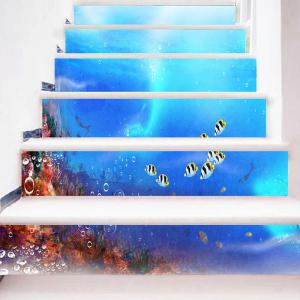 Sea World Fish Printed Decorative Stair Stickers -