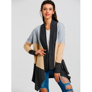 Asymmetric Color Block Striped Cardigan -