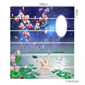 Dessin animé Swan Floral Lake Pattern escalier Riser Stickers -
