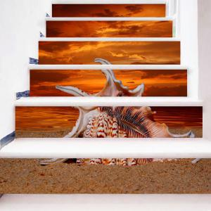 Sea Conch and Sunset Glow Pattern Stair Riser Stickers -