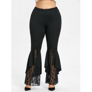 Plus Size Lace Panel Flare Leggings -