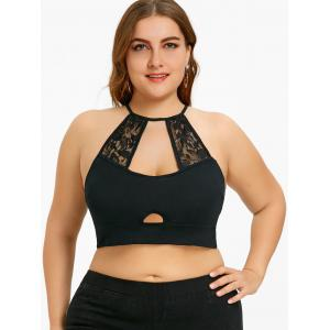 Plus Size Lace Trim Cutout Camisole -