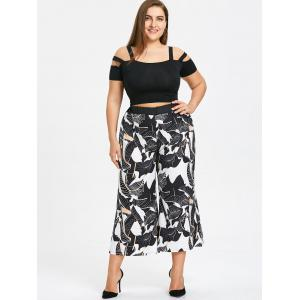 Plus Size Leaf Print Wide Leg Palazzo Pants -