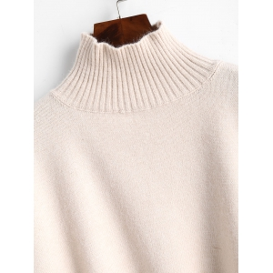 High Neck Ribbed Panel Sweater -