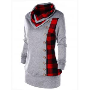 Plus Size Cowl Neck Plaid Sweatshirt -