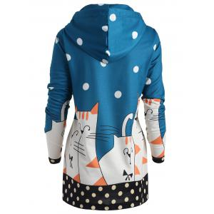 Plus Size Drawstring Polka Dot Kitten Hoodie -