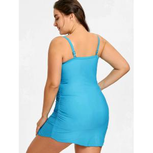 Plus Size Long Ruched Tankini with Thong -