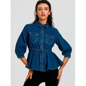 High Waist Button Up Denim Jacket -