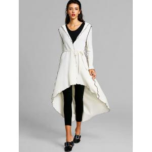 Embroidered Hooded High Low Maxi Coat -