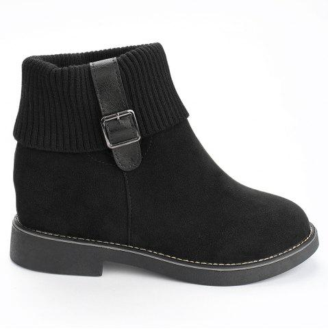 Flat Heel Buckle Strap Sweater Ankle Boots