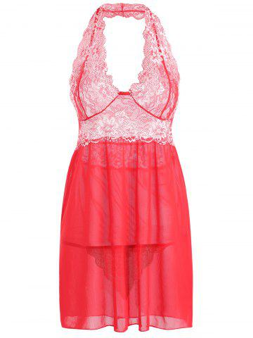 New Backless Halter Mesh Lace Insert Babydoll