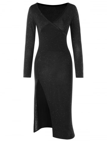 Store Long Sleeve High Split Club Dress