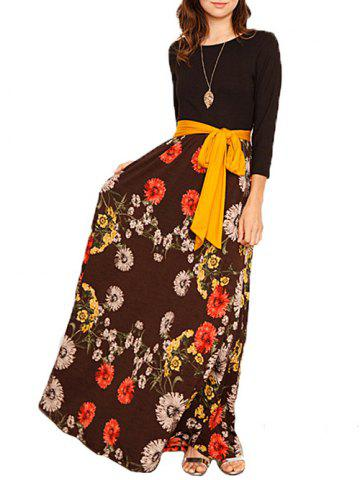 Trendy Floral Printed Maxi Dress with Belt