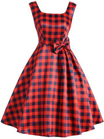 Sale Square Neck Plaid Bowknot Vintage Dress