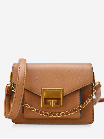 New Faux Leather Metal Chain Crossbody Bag