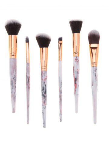 Buy Tree Resin Printed Handle 6Pcs Professional Cosmetic Brushes Set