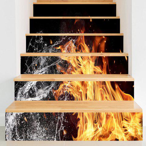 Fancy Fire and Water Printed Decorative Stair Stickers