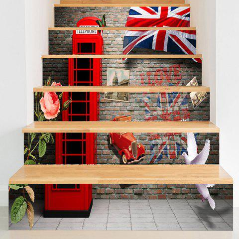 Buy England Style Telephone Booth Pattern Stair Riser Stickers