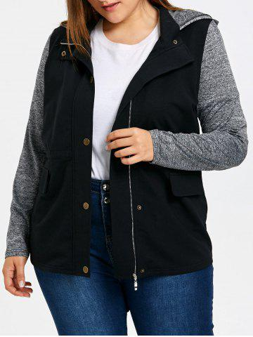 Discount Plus Size Hooded Drawstring Jacket
