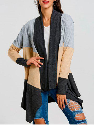 Fashion Asymmetric Color Block Striped Cardigan