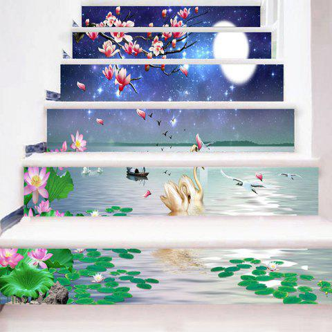 Dessin animé Swan Floral Lake Pattern escalier Riser Stickers