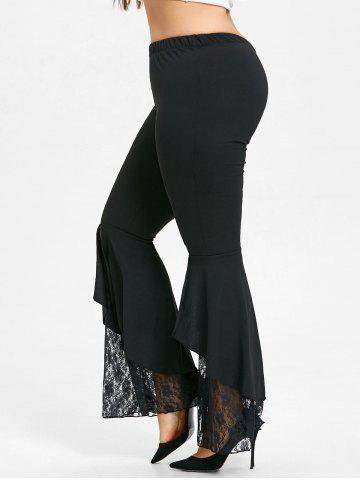 Fashion Plus Size Lace Panel Flare Leggings