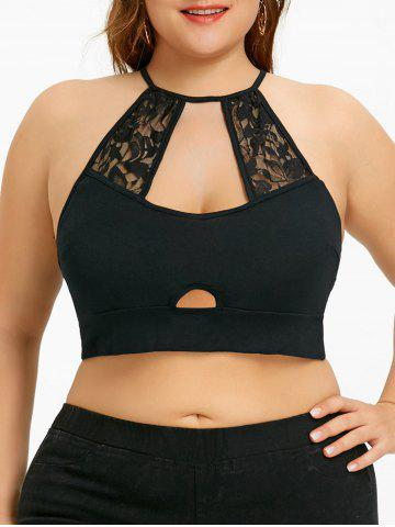 Unique Plus Size Lace Trim Cutout Camisole
