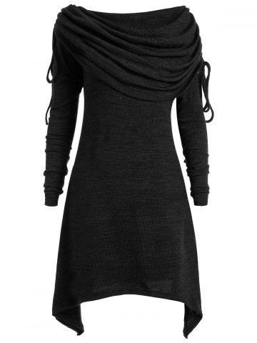 Плюс Размер Foldover Collar Ruched Tunic Вверх