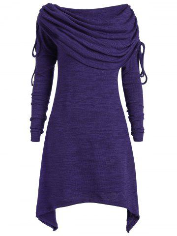 Trendy Plus Size Foldover Collar Ruched Tunic Top