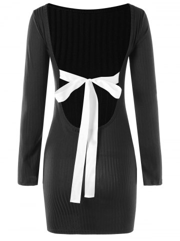 Best Bowknot Embellished Open Back Bodycon Dress