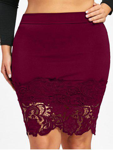 Discount Plus Size Lace Hem Fitted Skirt