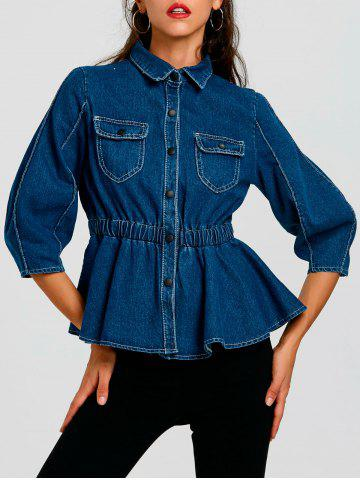 Cheap High Waist Button Up Denim Jacket