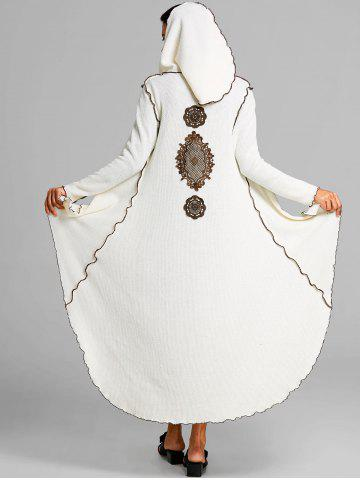 New Embroidered Hooded High Low Maxi Coat