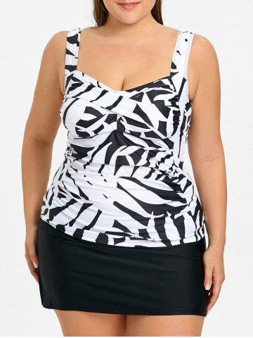Fancy Plus Size Tankini Top and Skirt Swimwear