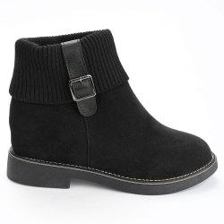 Flat Heel Buckle Strap Sweater Ankle Boots -