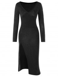 Long Sleeve High Split Club Dress -
