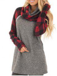 Plaid Sleeve Cowl Neck Sweatshirt -