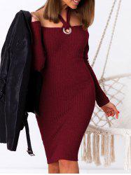 Halter Ribbed Bodycon Sweater Dress -