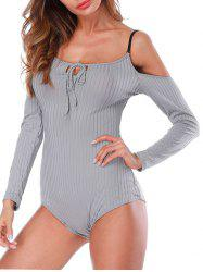 Ribbed Cold Shoulder Bodysuit -