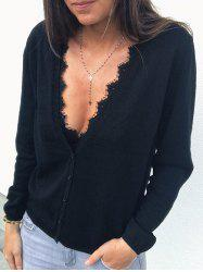 Lace Panel Button Cardigan -